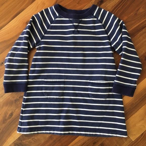 Mini Boden Other - Mini Boden Navy Stripe Sweatshirt Dress